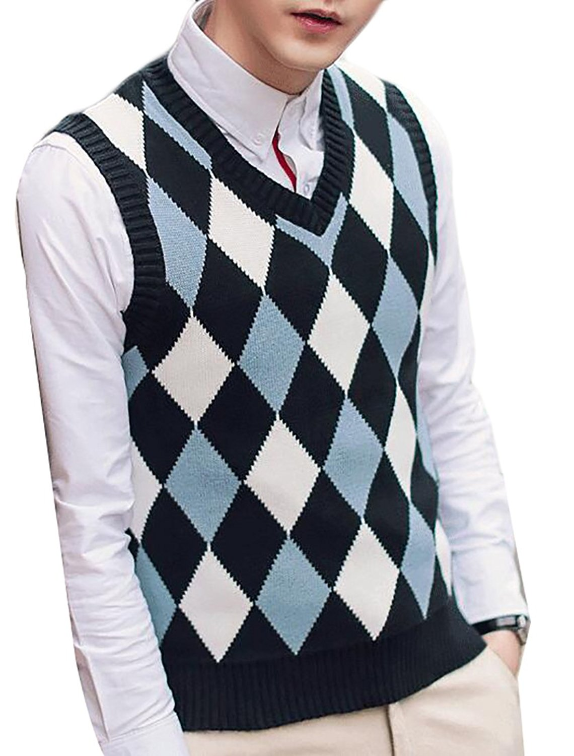 7a715be99ad85 Get Quotations · Papijam Mens Business Argyle Pattern V-neck Knitted Casual Sweater  Vest