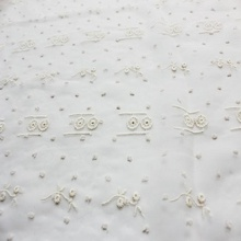 shaoxing best embroidered tulle fabrics chiffon wedding 100% polyester jacquard chiffon fabric with embroidery