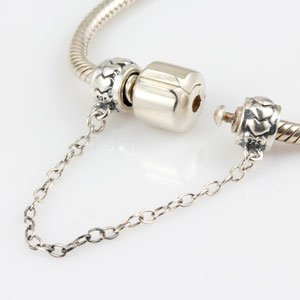 Clasp Safety Chain Charm 925 Sterling Silver Clip Stopper Charm for Women Charm Bracelet (heart)