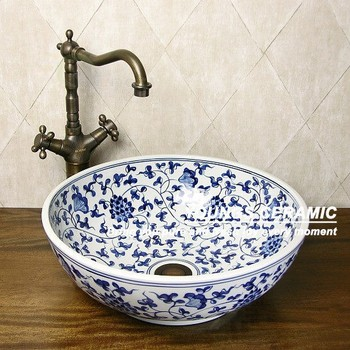 Jingdezhen Hand Painted Blue And White Porcelain Ceramic Wash Basin Bathroom Sink