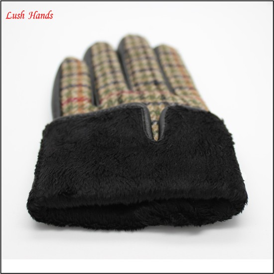 2017 New style plaid and sheepskin joint ladies fashion gloves