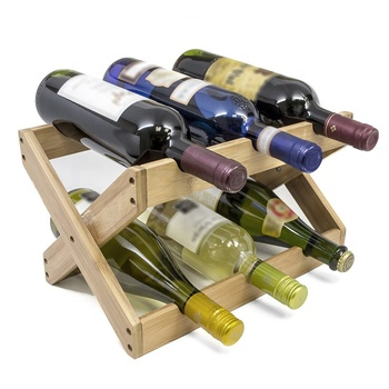 Hot sales bamboo foldable countertop wine rack for 6 bottles