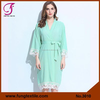 3010 Solid Cotton Lace Ladies Robes