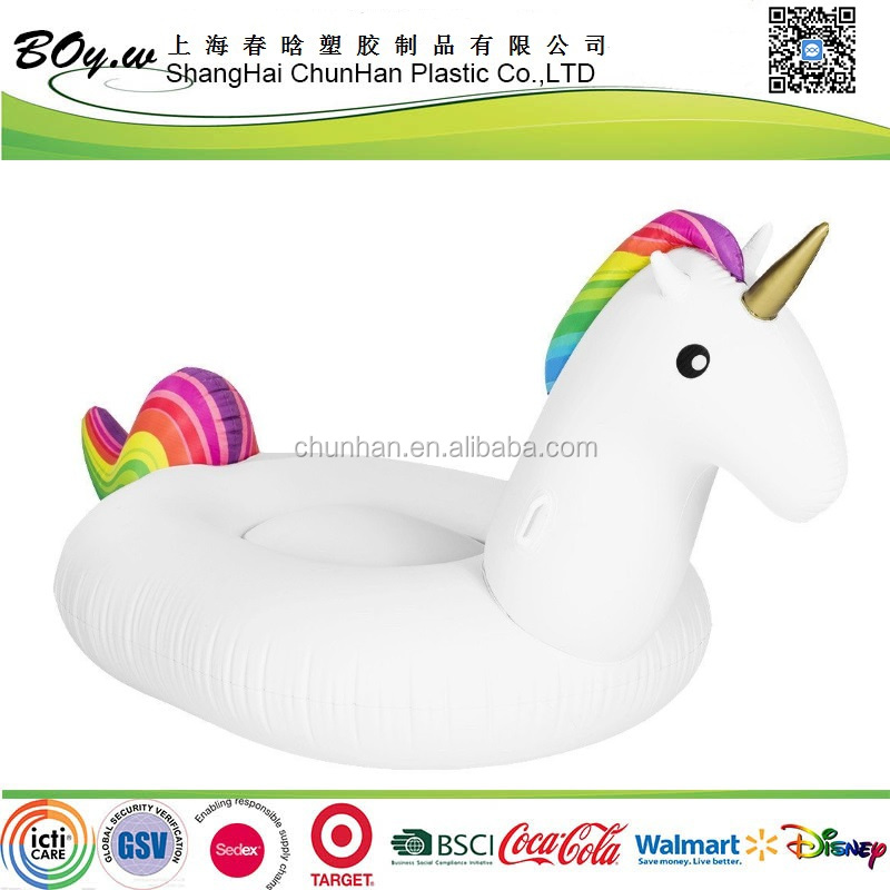 ICTI factory animail pool floating toys pvc rainbow giant inflatable unicorn floats