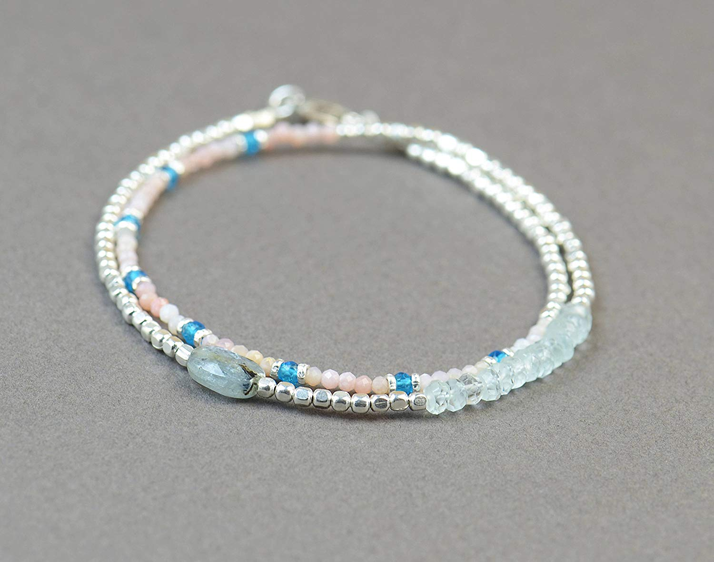Double strand multi gemstones and sterling silver beads bracelet.Dainty bracelet.Wrap.Sterling Silver,Kyanite,aquamarine,Pink opal
