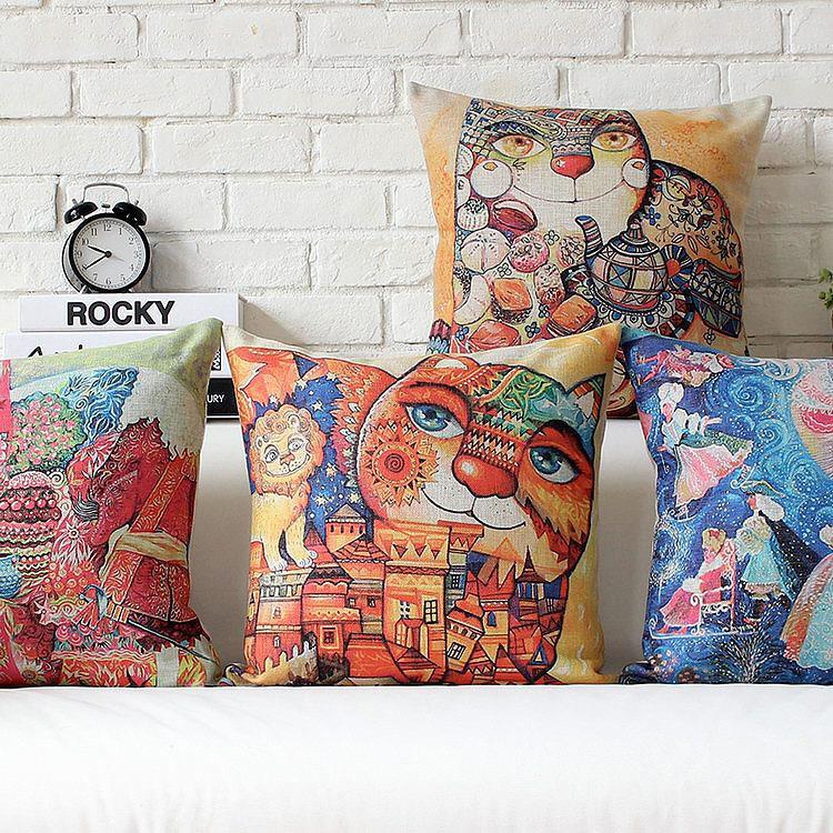 Free Shipping Boho Graffiti Cat Linen Fabric Throw Pillow Hot Sale New Home Fashion Christmas Decor 45cm Bar Sofa Car Cushion