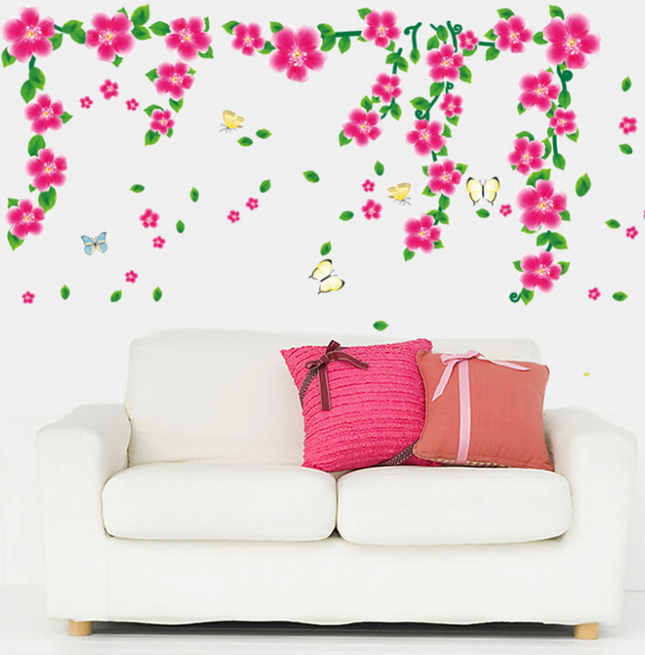 Free shipping  70*130cm New removable pvc 3d nature flower wall sticker for bedroom
