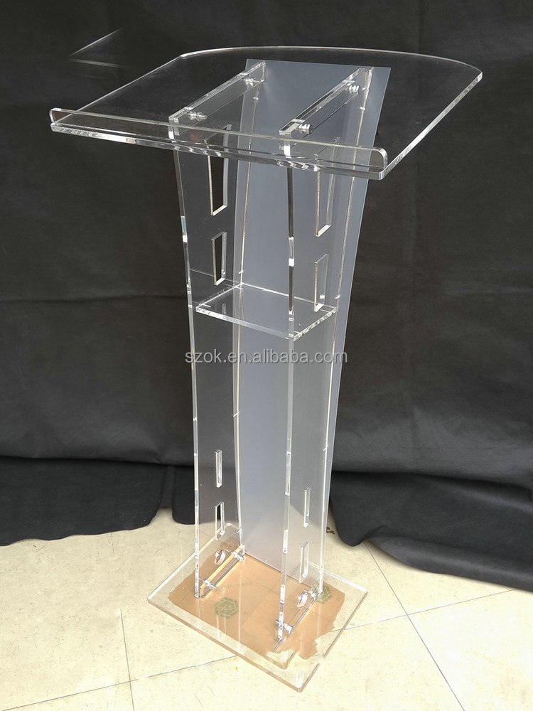 Floor standing clear used acrylic church pulpit podium