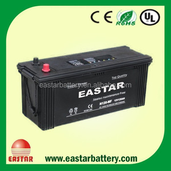 JIS-MF N120 MF 12V 120Ah battery for automative vehicle