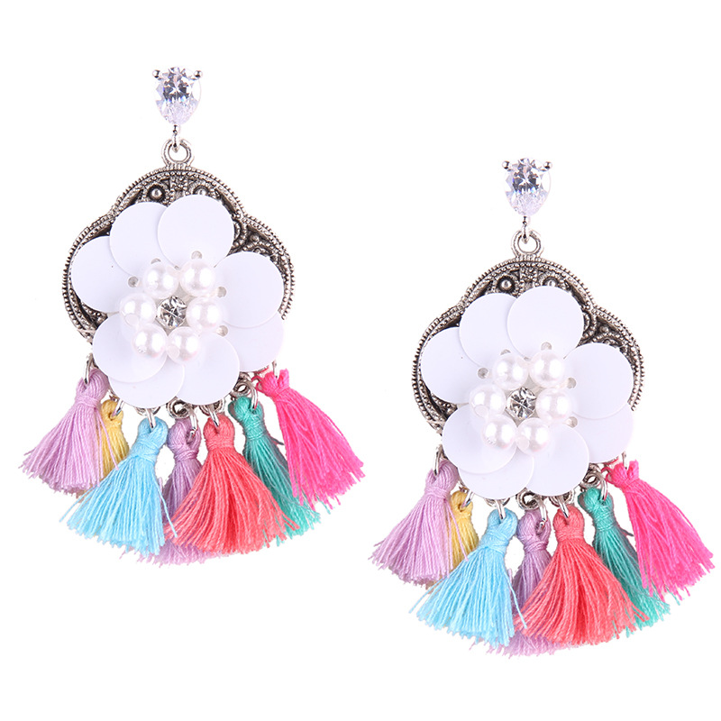 9481 Dvacaman New Fashion Simulated Pearl Resin Flower Drop Earrings for Women Careful Tassel Earrings
