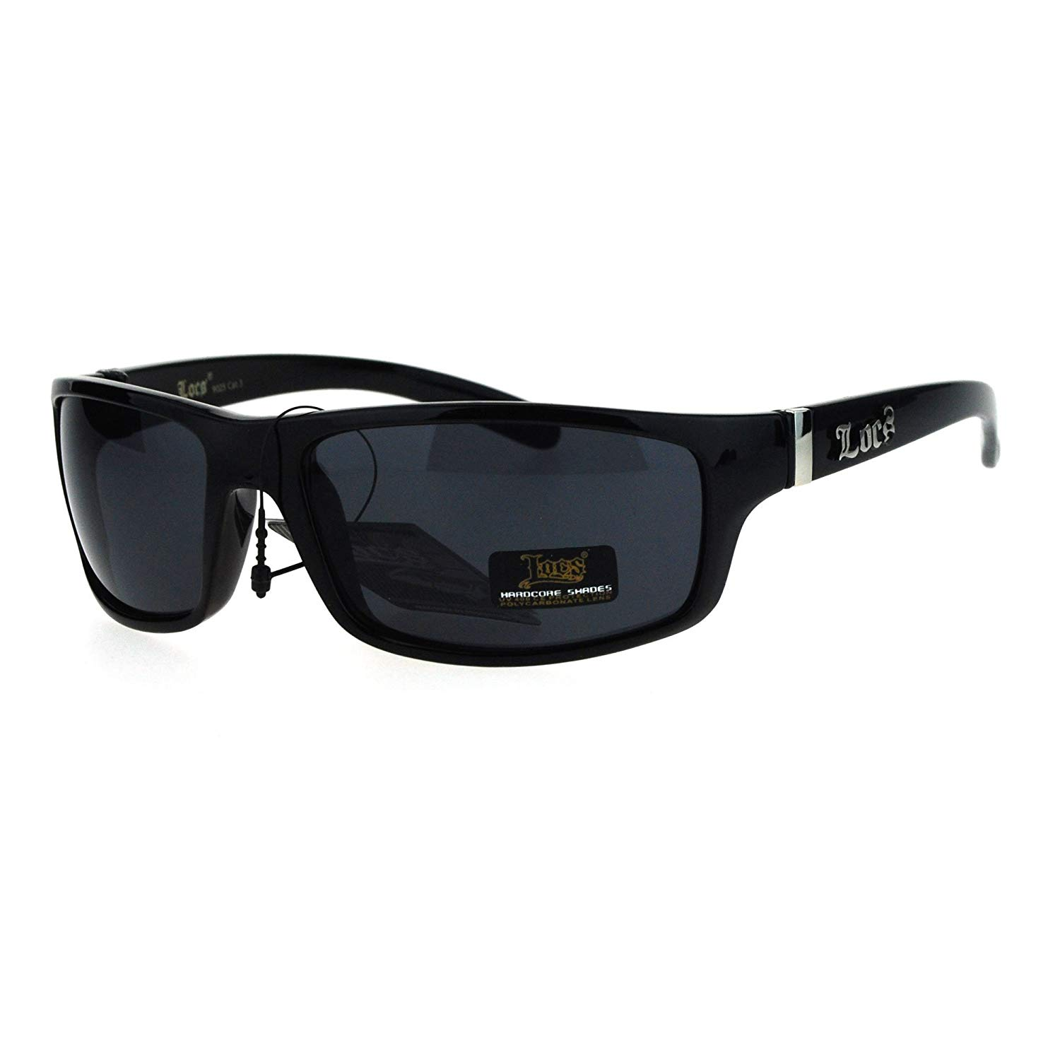 e91322384f6c Locs All Black Mad Dog Cholo Rectangular Gangster Biker Sunglasses