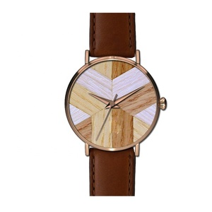 Shenzhen watch leather strap luxury watch men with wood dial