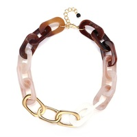 DY European and American fashion creative round acrylic chain link necklace