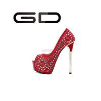 Crystal decorated bridal peep-toe shoe Red and black platform spike heels Elegant pencil heels peep-toe shoe