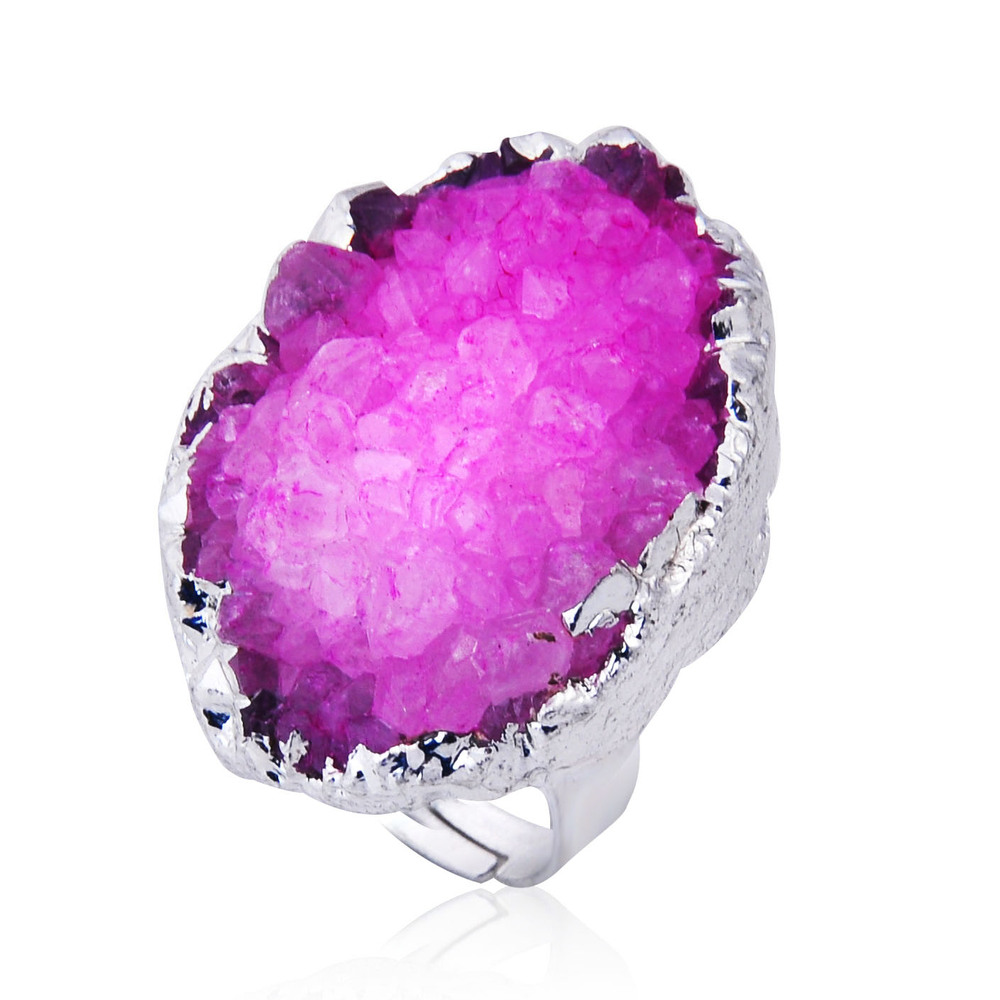 Natural Stone Rough Amethyst Druzy Connectors Gemstone Jewelry
