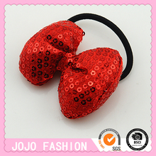 Fascinator Red Sequin Soft Bow with Hair Elastic Band Girls Hair Accessories