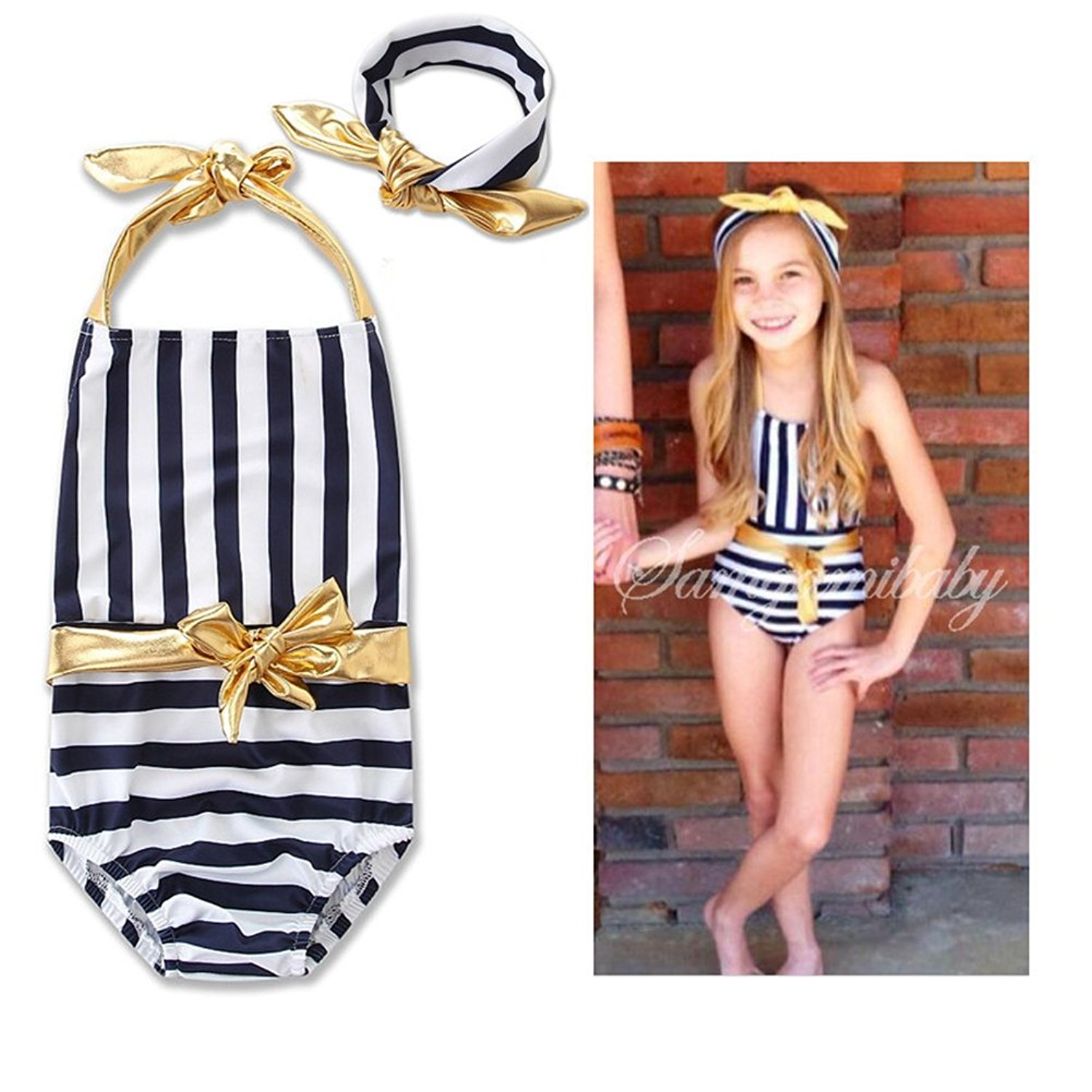 f008a49a4e932 BERTERI One-Piece Cute Striped Swimsuit with Gold Bow Bathing Suits Bikini  Swimwear for Baby Girls/Kid/Toddler/Infant/Children Take Photos Summmer  Beach ...