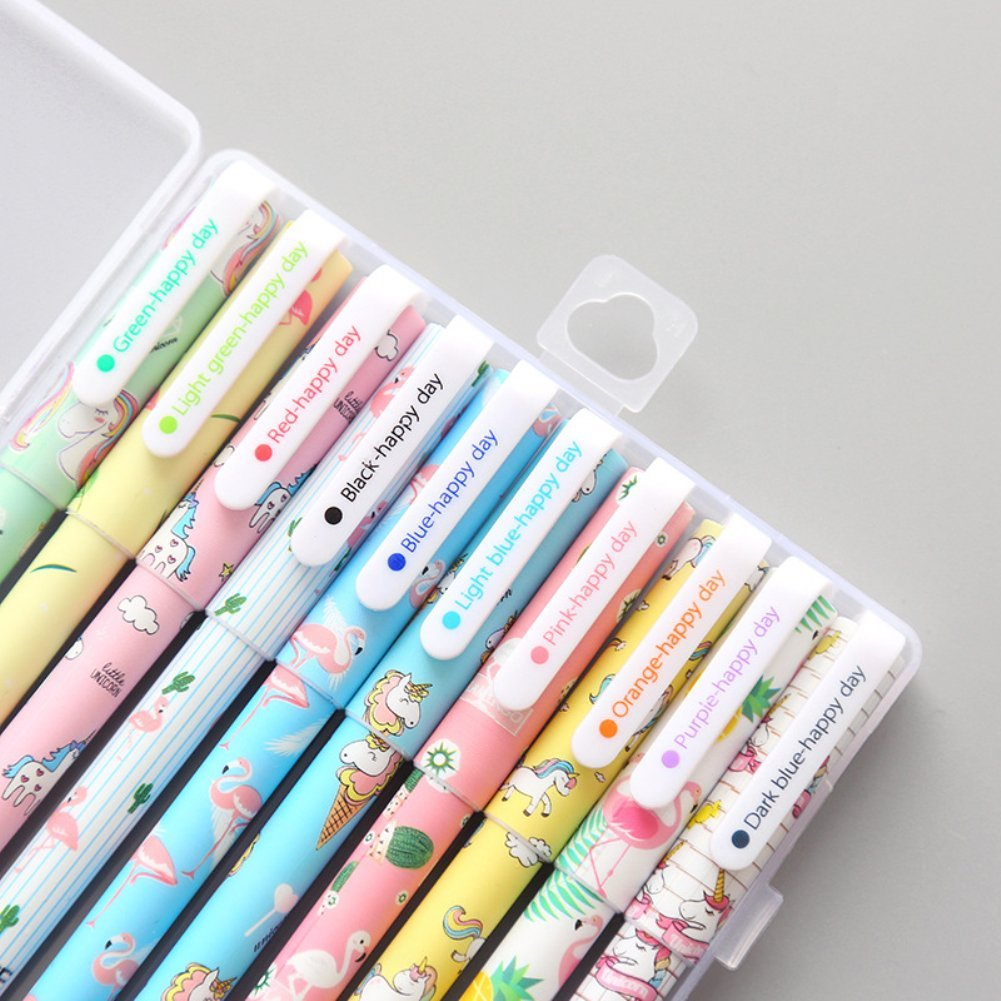 10 Pcs Unicorn Flamingo Gel Pens Set,Fine Point (0.5mm), 10 Ink Color,Best Unicorn Gifts for Girls