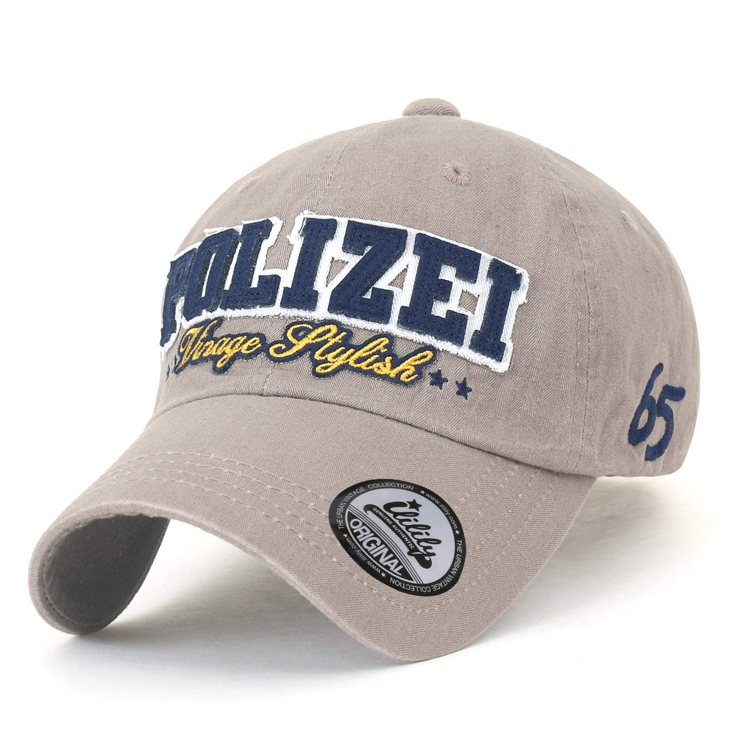 39709de16d8 Get Quotations · ililily Polizei Patch Baseball Cap Solid Color Strap Back  Trucker Hat