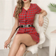 short sleeve button up red plaid shirt dress for women