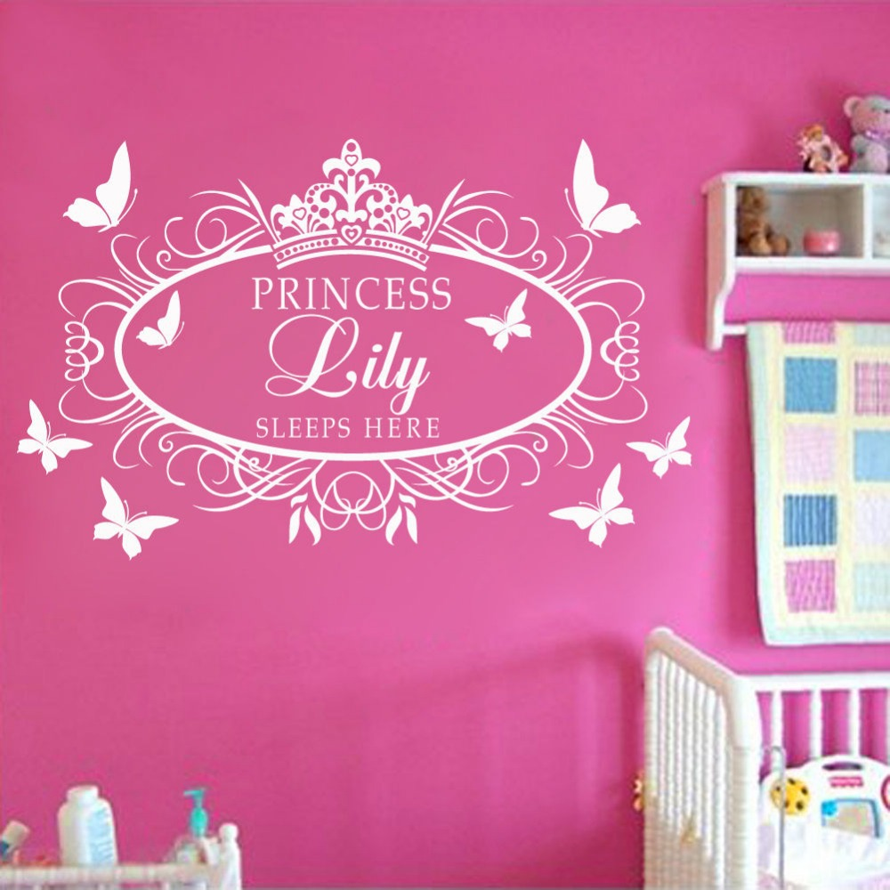 Princess Vinyl Decal Wall Sticker Words Lettering Nursery: Custom Personalised Name Princess Crown Wall Art Sticker