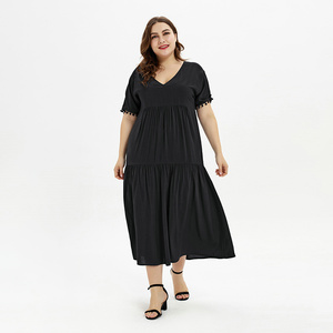 2019 Top Sales Summer Ladies Casual V Neck Loose Maxi Plus Size Dress & Skirts For Women