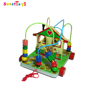 Cabins wisdom trailer wooden beads pull string toy car,Wooden stringing beads game,Top quality and funny wooden string beads toy