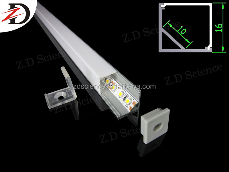 Surface Mounted Light Fitting IP65 Square Aluminum Extrusion Profile 45 Degree For LED Strips