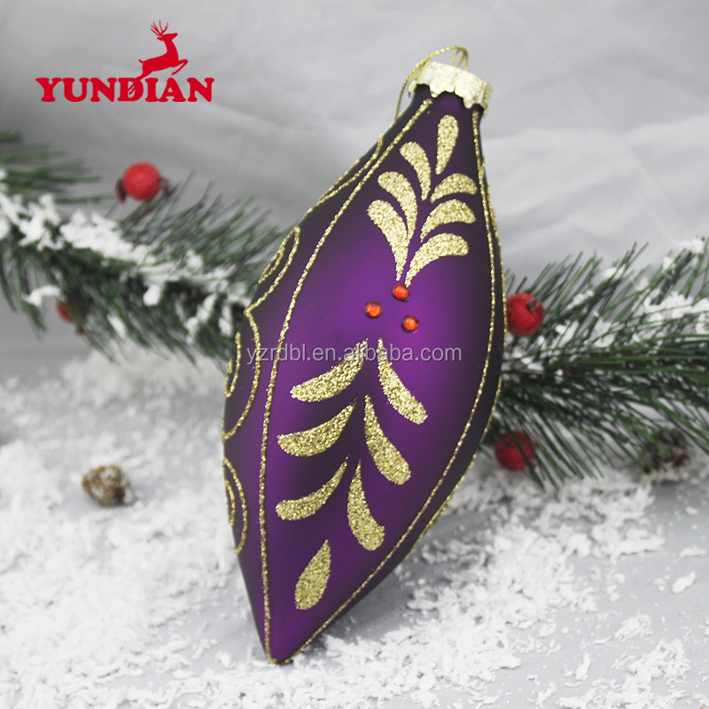 Hot sale personalized hand painted wholesale christmas purple color ball hanging ornaments