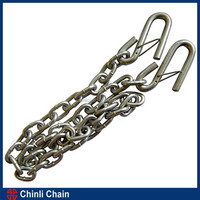 Trailer safety chain with S hooks, USA chain with safety S hooks, NACM96 standard 3/16