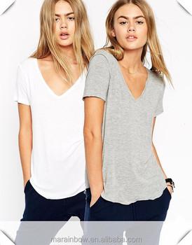 Cotton Spandex White Grey Plain Womens Deep V Neck T Shirt With Raw Trim And Seam Buy Cotton Spandex Womens T Shirt Womens Deep V Neck T