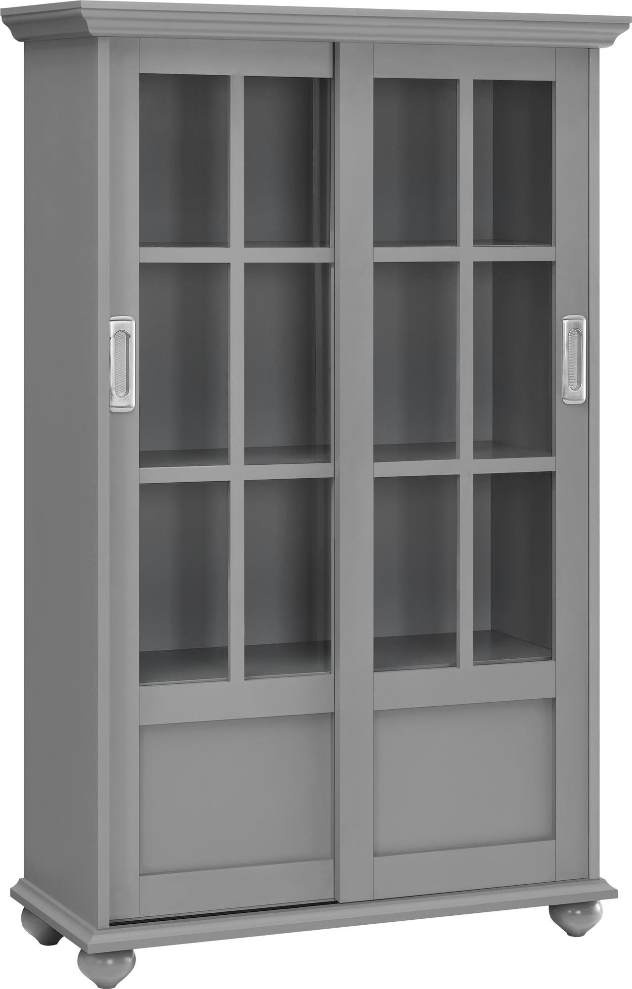 Ameriwood Home Aaron Lane Bookcase with Sliding Glass Doors, Soft Gray