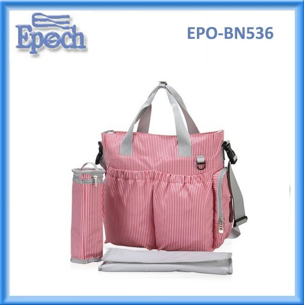 Top quality new candy strip color multifuncation mommy baby diaper bag