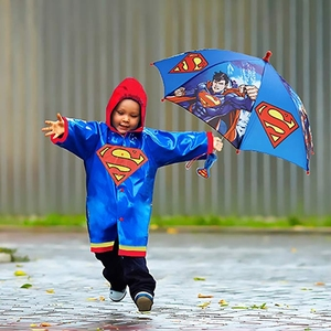 Good quality cartoon super man kids character children golf umbrella and raincoat for little boy