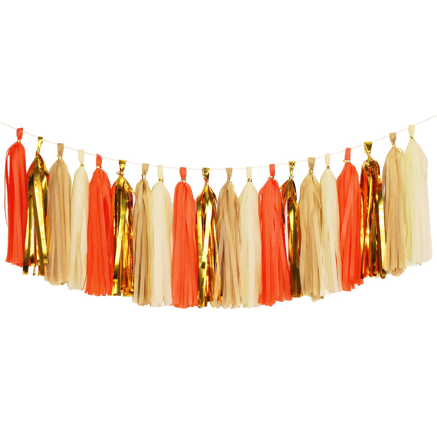 Koker Tassel Garland, Tissue Paper Tassels Banner for Wedding, Baby Shower, First Birthday Party Decorations, 20 pcs DIY Kits (Orange+Metallic Gold+Tan+Ivory)