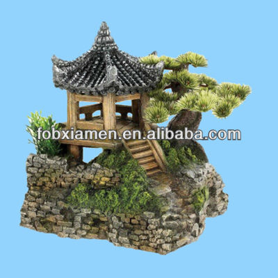 Pagoda House With Plants Asian Aquarium Ornaments