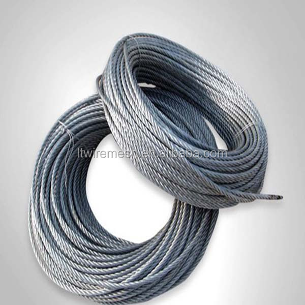 Cheap price 6*19FC+IWRC galvanized steel wire rope for lifting