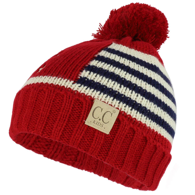1236a09132b Trendy Apparel Shop Kid s American Flag Pom Long Cuff Knit Beanie Hat