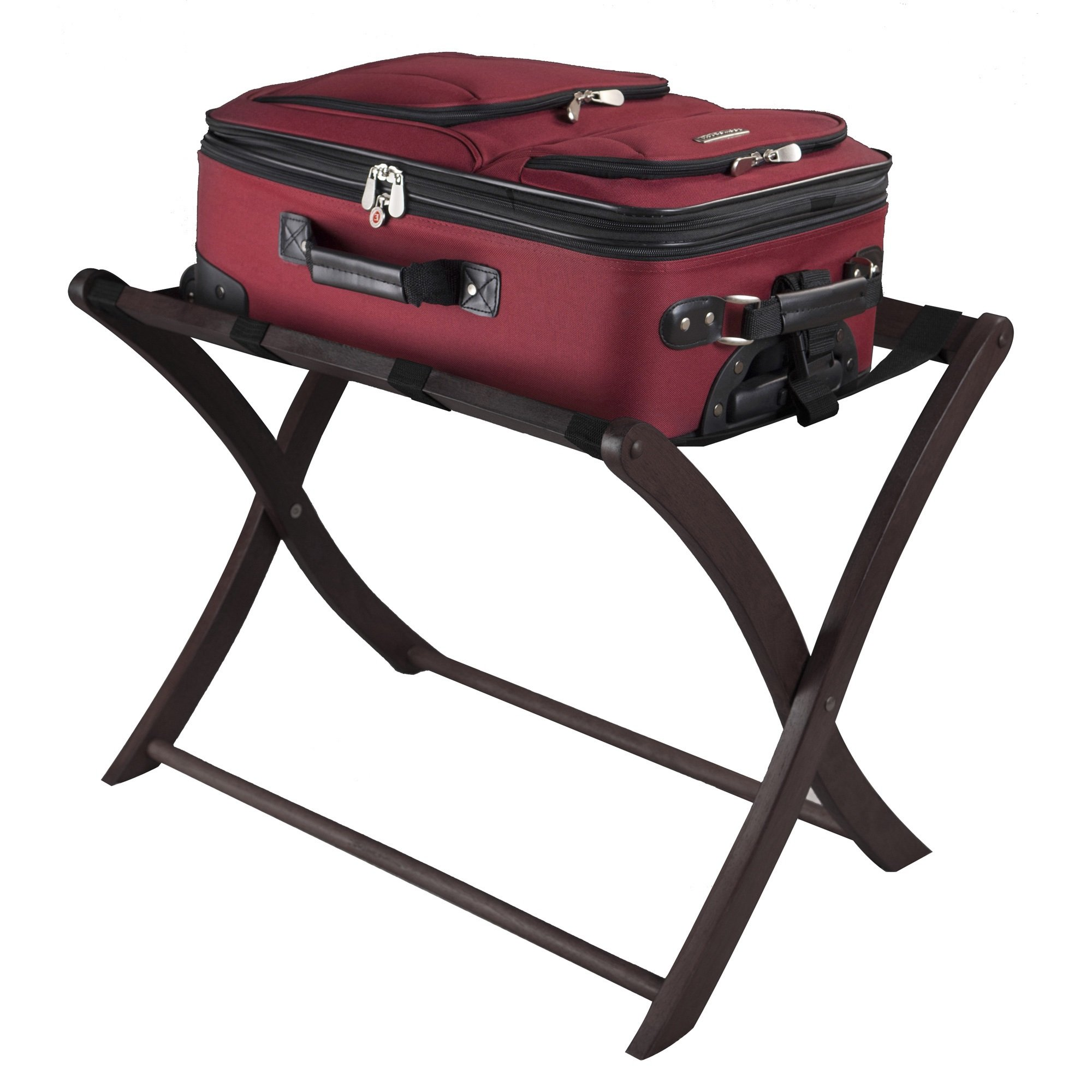 Curved Leg Luggage Rack Brown Espresso Wood, Suitcase Holder For Walk In  Closet And Entryway