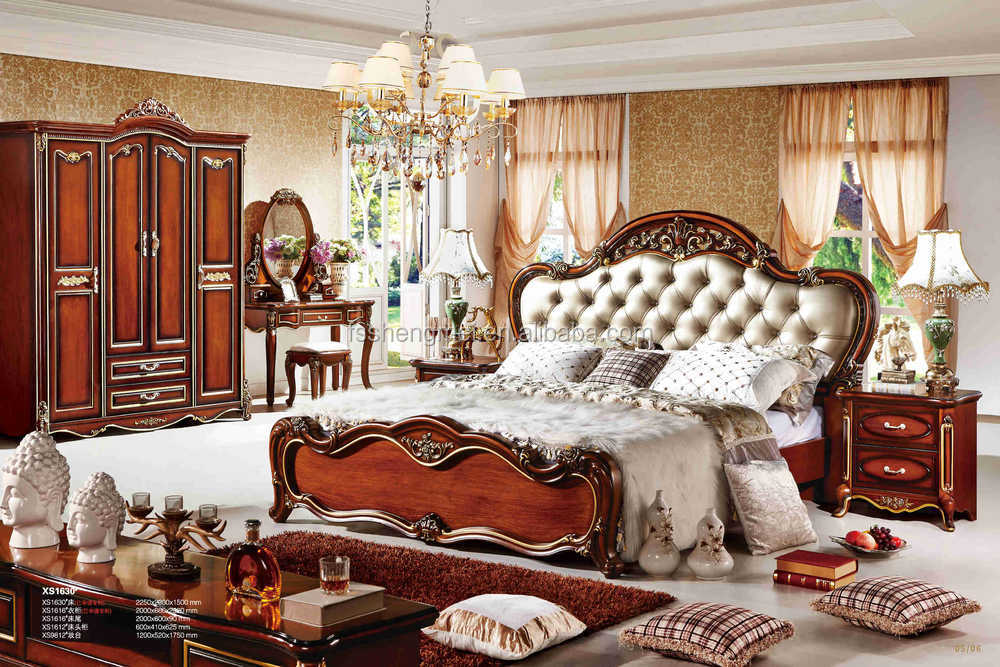 Leather Bedhead Wood Carving Antique Solid Wood Bedroom Furniture