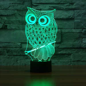 FS-3519 Cute Owl Animal Small Night Light 3D Acrylic Novelty Lamp Product Magic Illusion