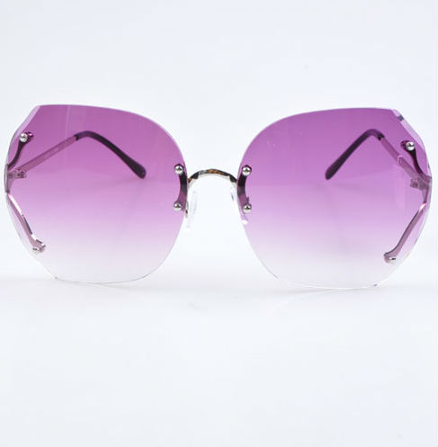sale visor oversized women Sonnenbrillen fashion purple rimless hexagon sunglasses