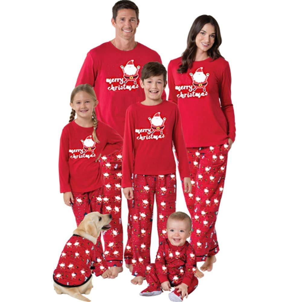 1207e0c4b4af0c Get Quotations · Kumike Family Matching Pjs Merry Christmas Letter Print T  Shirt Tops Pants Kids Women Sleepwear Outfits