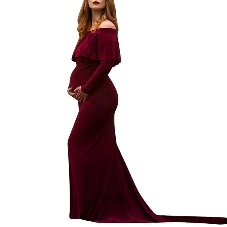 293aaab6425f2 Get Quotations · Maternity Dress, Womens Off Shoulders Ruffles Nursing Long Dress  Maternity Maxi Photography Dress