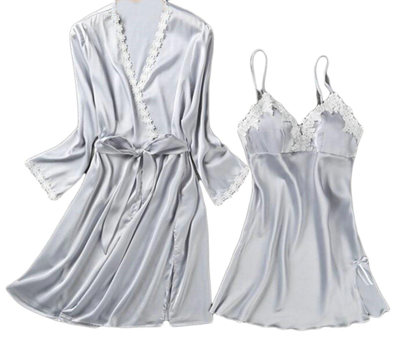 603433a318 Get Quotations · Papijam Womens Nightgowns 2-Piece Satin Casual Robes Sleep  Dresses