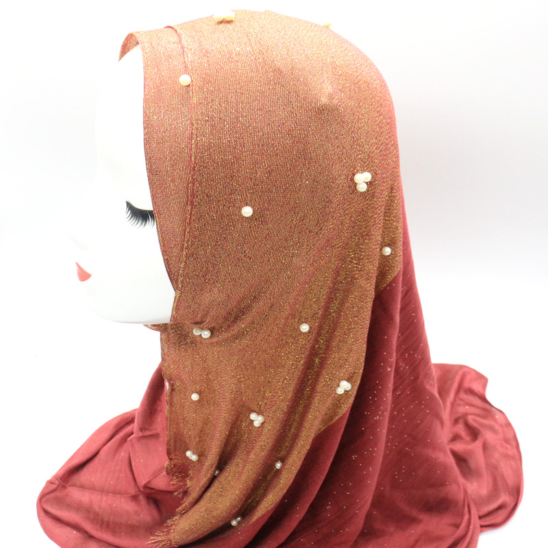HOT Sale Headscarf Plain Color Shiny Shimmer Half of Silver Scarf Hijab with Nail White Beads Shawl Wrap