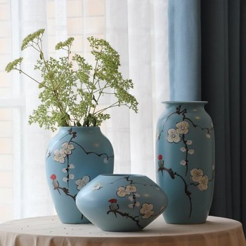 simple modern hand painted blue color porcelain flower vase painting designs - Vase Painting