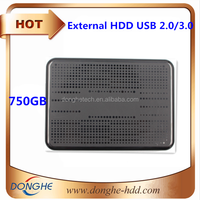 "Portable HDD 2.5"" USB3.0/2.0 750GB External Hard Drive black case made in China"