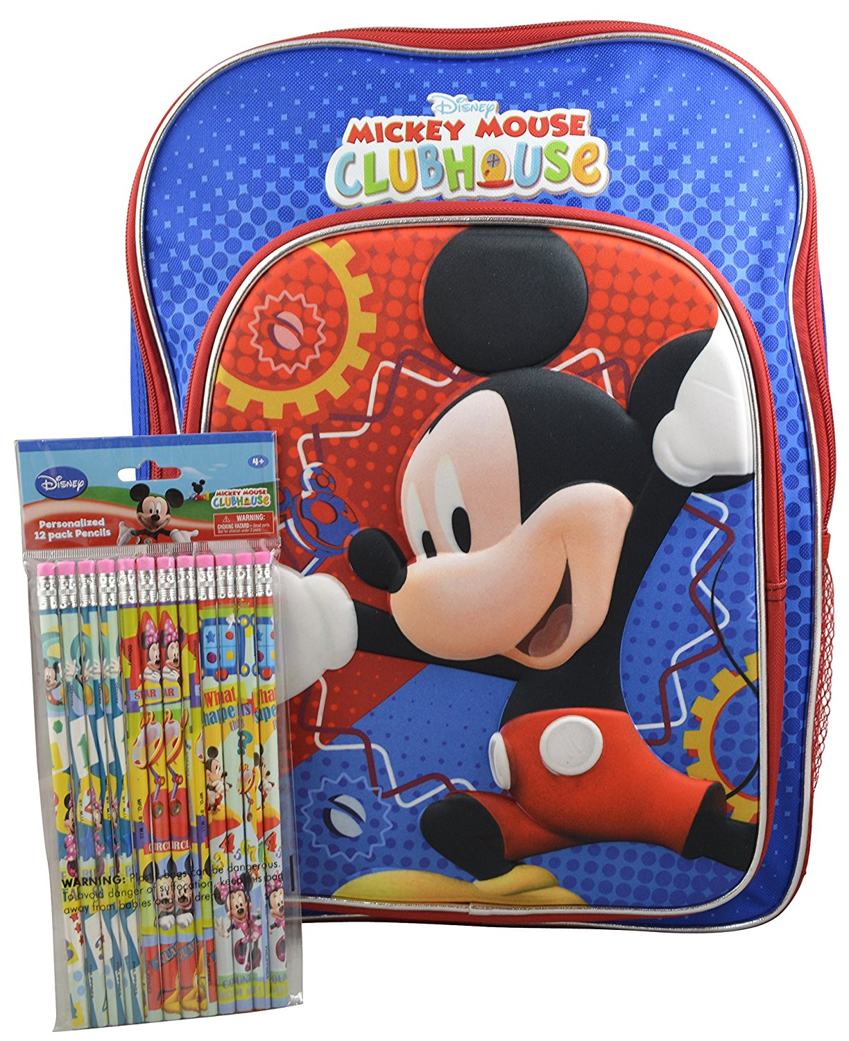 "Disney Mickey Mouse Clubhouse Boys' 3D Pop out 16"" Backpack w/ Bonus 12pk Pencils"