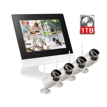 Wifi outdoor p2p draadloze webcam nachtzicht led ir ip camera kit 4 CH wifi nvr kits cctv camera systeem